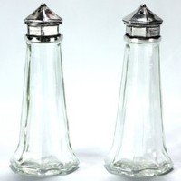 Basic Spirit Lighthouse Salt and Pepper Shakers - Pewter and Glass / Hand Made