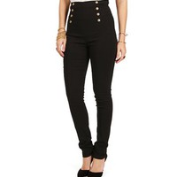 Black High Waisted Button Pants