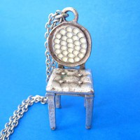 Miniature Realistic Home Decor Chair Necklace in Silver