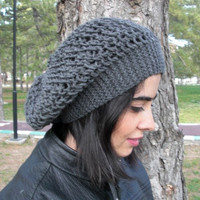 Hand Knit Hat  Beehive beret in Charcoal Gray  womens hat   Slouch Beanie  Fall Autumn Winter Fashion  Accessories