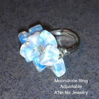 Ring Genuine Moonstone Adjustable Silver Plated