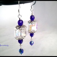 Faceted Chinese Clear Crystal, Cobalt Blue Crystal Handmade Earrings