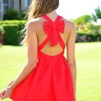 Red Bow Back Sleeveless Mini Dress with V-Neckline