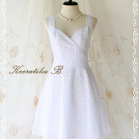 Sound Of Summer II - Sweet Elegant Spring Summer Lacy Sundress Pure White Color Thick Cotton Lace Party Wedding Cocktail Dress