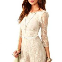 Cream Lace Romper with Sheer Sleeves and Back Zipper