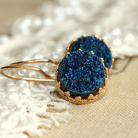 Gold blue druzy shiny stone -  real 14 goldfield 14K elegant classic earrings
