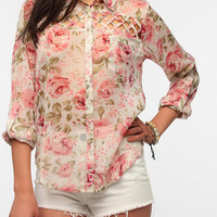Urban Outfitters - Band Of Gypsies Lattice Inset Chiffon Blouse