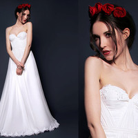 Silk Hand Gathered Bustier Gown with Alencon Lace