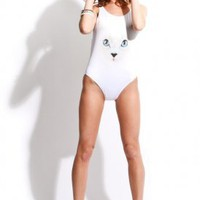 wildfox couture - women&#x27;s white cat one piece (white) - wildfox couture | 80&#x27;s Purple