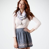 AE Embroidered Chambray Skirt | American Eagle Outfitters