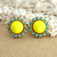 Stud earring Neon yellow and Turquoise  - 14 k plated gold post earrings real swarovski pearls.
