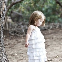 $42.00 Beautiful Organic White Ruffle Dress (Newborn - 4T sizes available) by dressbabybeautiful