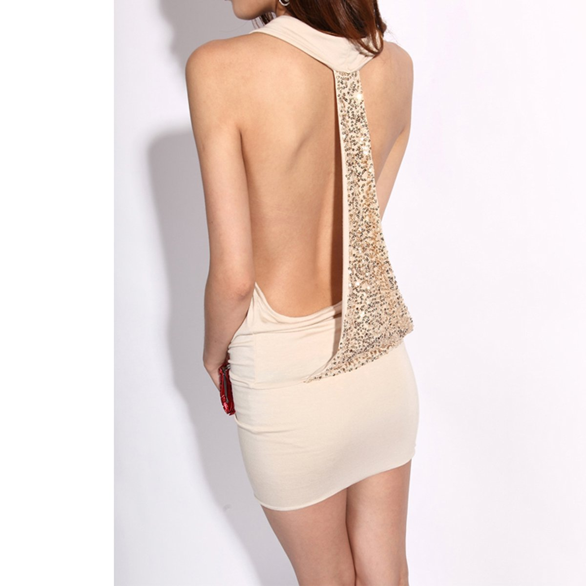 Krazy Sexy Club Cocktail Party Evening Dress #103 Nude