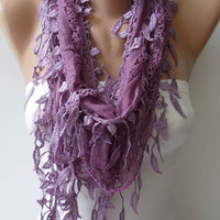 Mother&#x27;s Day Gift - Lilac Lace Scarf with Lilac Lace Trim Edge