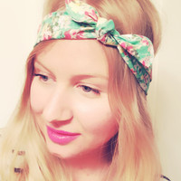 Beautiful Mint Coral Grey White Yellow Floral Retro Print Headscarf Bandana Pin Up Headband Many Ways to Wear Spring Summer DOLLAR SHIP