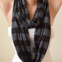 Dark Gray Striped Infinty Scarf  - Circle -  Loop Scarf - Combed Cotton Fabric