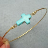 Green Turquoise Cross Brass Bangle Bracelet by turquoisecity