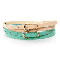 Fit Kit Beige and Mint Leather Belt Set