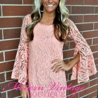 Coral Lace Belle Sleeve Dress
