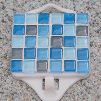Geometric Mosaic Magnetic with Hook in Blues by GreenStreetMosaics