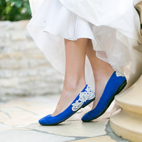 Wedding Shoes - Cobalt Blue Bridal Ballet Flats, Wedding Flats with Ivory Lace. US Size 7.5