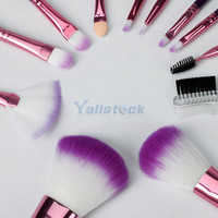 New 12pcs Professional Cosmetic Makeup Eyeshadow Brush Set with Purple Bag Case