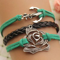 anchor bracelet,retro silver anchor and rose bracelet,black braid leather bracelet,green rope---B295