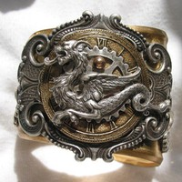 Steampunk Dragon Brass Cuff by steamheat on Etsy