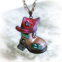 Shoehouse pendant necklace polymer clay jewelry by UraniaArt