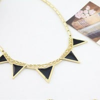 Black Triangle Geometric Bib Necklace at Online Jewelry Store Gofavor
