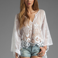Jen's Pirate Booty Barcelona Crop Kaftan in Pearl from REVOLVEclothing.com