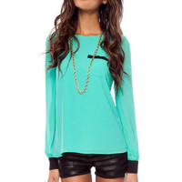 Chiffon Contrast Blouse $17