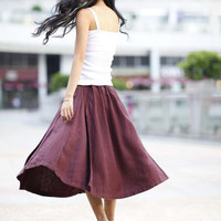 Comfortable Deep Red Elastic Waist Skirt For Autumn - NC168