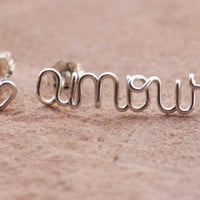 Love Around the World, Stud Earrings, Pair with Mini Heart Stud