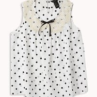 Lace Trim Polka Dot Top