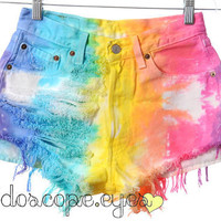 Colorful RAINBOW Tie Dyed LEVIS 501 Denim by KaleidoscopeEyesVtg