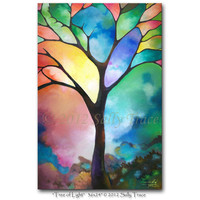 "Abstract tree canvas print, 24x36 inch giclee on stretched canvas, in prismatic colors, from my abstract painting ""Tree of Light"""