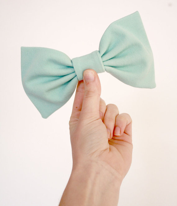 Pastel Aqua Blue Big Bow Hair Clip by prettygoodthings on Etsy