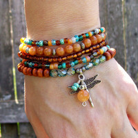 Dragonfly - Beaded Stretch Bohemian Stacker Bracelets  - Journey to a New Life