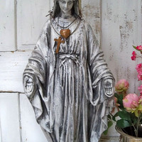 Large Virgin Mary statue with crown distressed faux finished Madonna French Santos inspired home decor Anita Spero