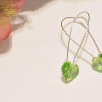 Striking Light Spring Green Heart Swarovski Crystal Earrings (Pantone Tender Shoots)