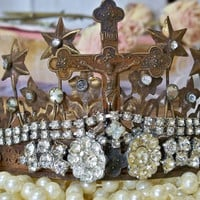 Brass rusty crown tiara embellished with crucifix in a French Santos style rusty aged home decor Anita Spero
