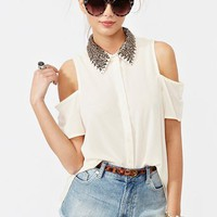 Total Stud Blouse - Cream in  Clothes at Nasty Gal