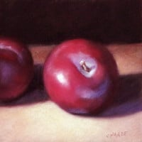 Red Plums 6 x 6 Original Pastel Painting by LittletonStudio
