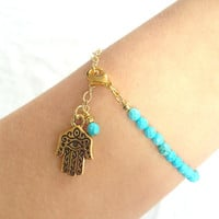 Turquoise Bracelet with Gold Hamsa and Chain by AtelierYumi