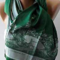 Green Silk Shawl / Scarf ISTANBUL by womann on Etsy