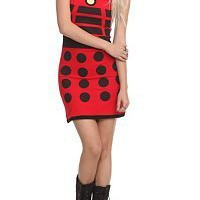 Doctor Who New Juniors Sz SM MD LG XL Red DALEK DRESS Slinky Tunic Tank COSPLAY