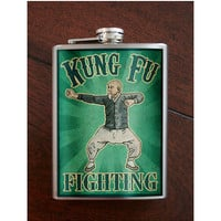 Flask 8oz Kung Fu Fighting Stainless Steel by trixieandmilo