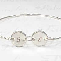 Personalized Two Initial Bangle Bracelet, Silver Disc Jewelry, Custom Stamped Initial Jewelry, Gift Idea, Love, Friendship Bangle Bracelets
