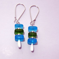 Blue and Green Sea Glass Dangle Earrings
